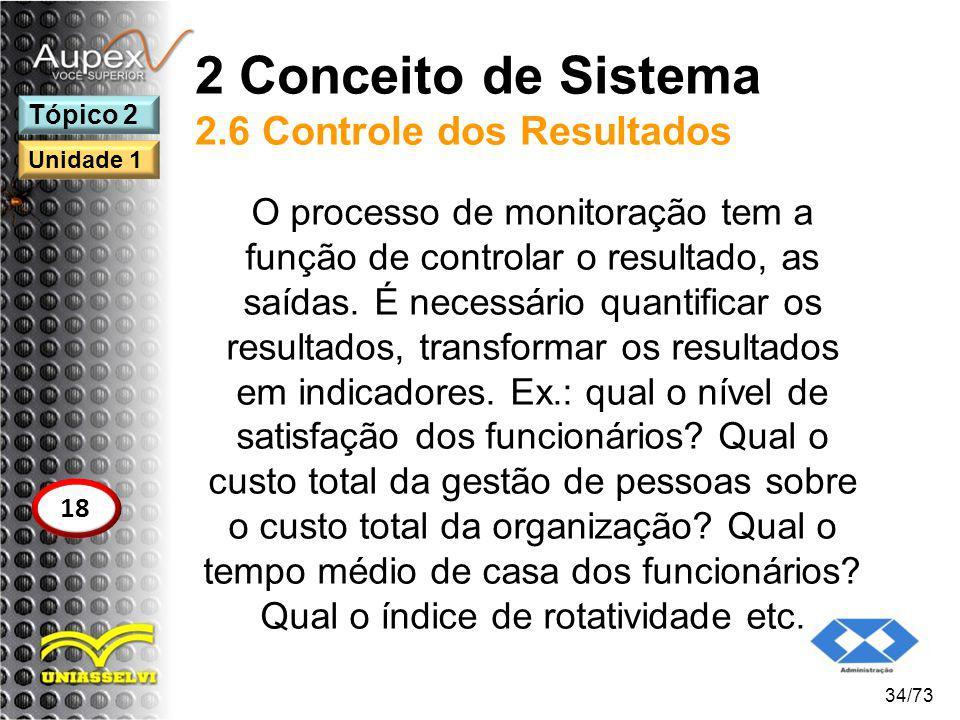 2 Conceito de Sistema 2.6 Controle dos Resultados O processo de monitoração tem a função de controlar o resultado, as saídas. É necessário quantificar
