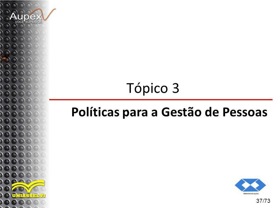 37/73 Tópico 3 Políticas para a Gestão de Pessoas