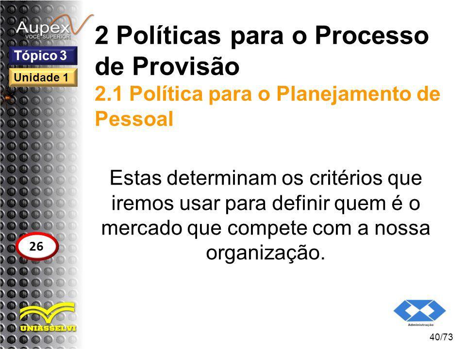 2 Políticas para o Processo de Provisão 2.1 Política para o Planejamento de Pessoal Estas determinam os critérios que iremos usar para definir quem é