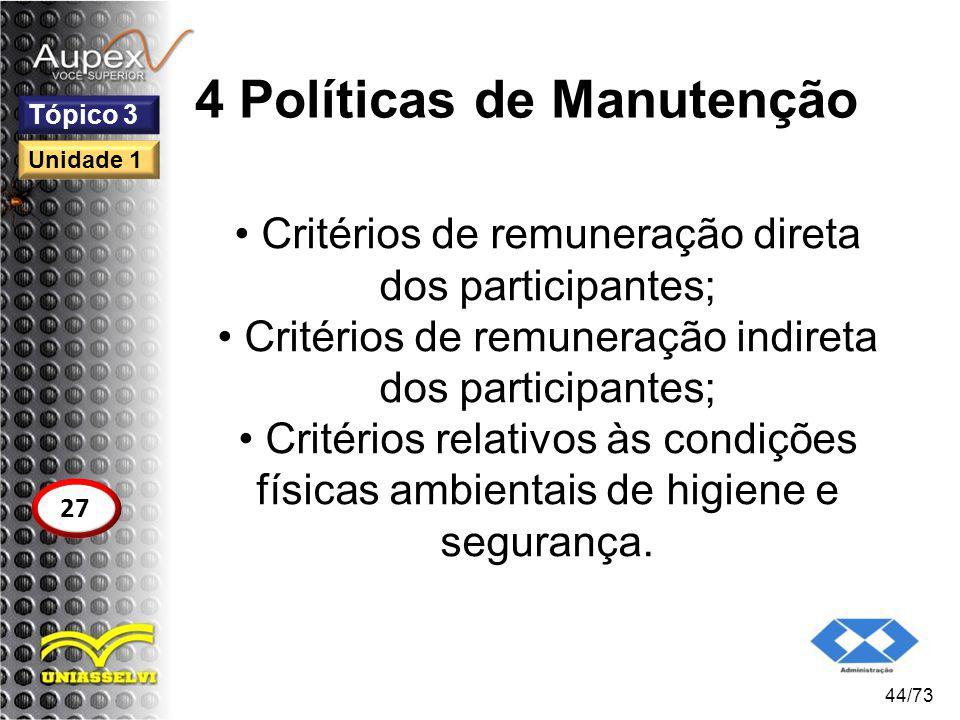 4 Políticas de Manutenção Critérios de remuneração direta dos participantes; Critérios de remuneração indireta dos participantes; Critérios relativos