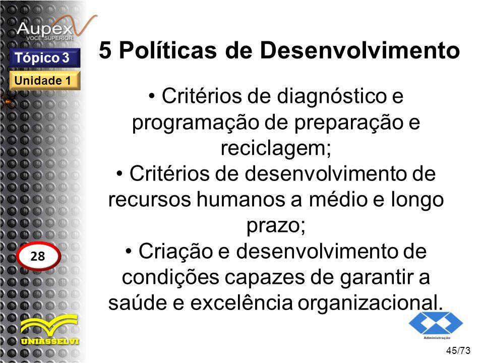 5 Políticas de Desenvolvimento Critérios de diagnóstico e programação de preparação e reciclagem; Critérios de desenvolvimento de recursos humanos a m