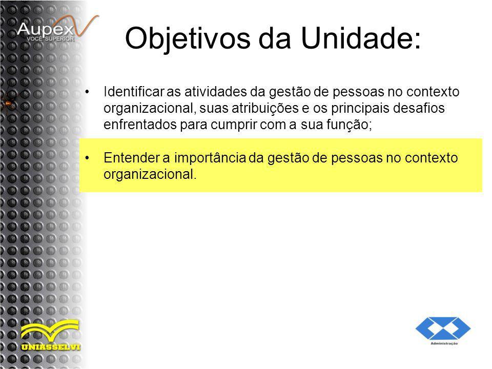 Objetivos da Unidade: Identificar as atividades da gestão de pessoas no contexto organizacional, suas atribuições e os principais desafios enfrentados