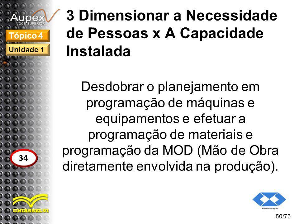 3 Dimensionar a Necessidade de Pessoas x A Capacidade Instalada Desdobrar o planejamento em programação de máquinas e equipamentos e efetuar a program