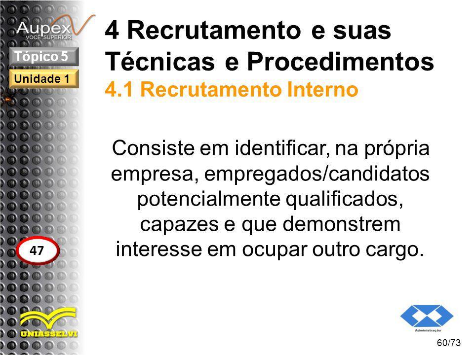 4 Recrutamento e suas Técnicas e Procedimentos 4.1 Recrutamento Interno Consiste em identificar, na própria empresa, empregados/candidatos potencialme