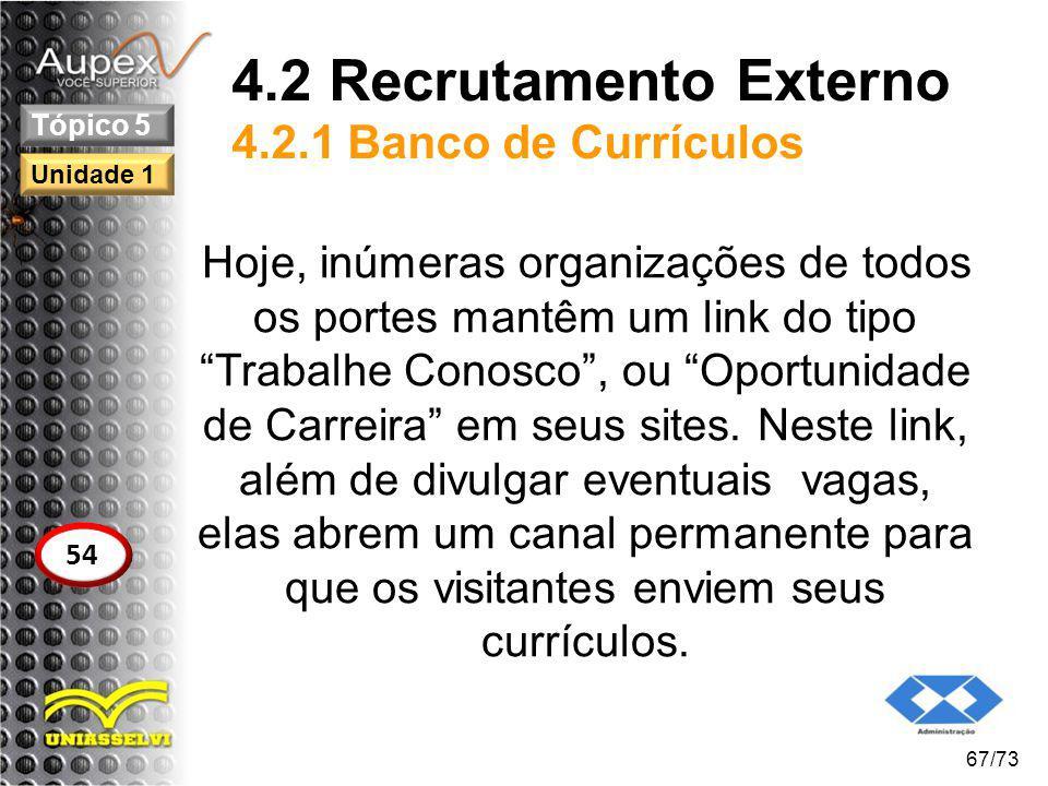 4.2 Recrutamento Externo 4.2.1 Banco de Currículos Hoje, inúmeras organizações de todos os portes mantêm um link do tipo Trabalhe Conosco, ou Oportuni