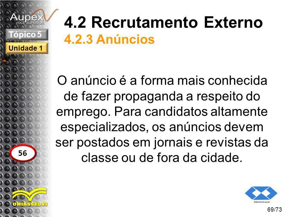 4.2 Recrutamento Externo 4.2.3 Anúncios O anúncio é a forma mais conhecida de fazer propaganda a respeito do emprego. Para candidatos altamente especi