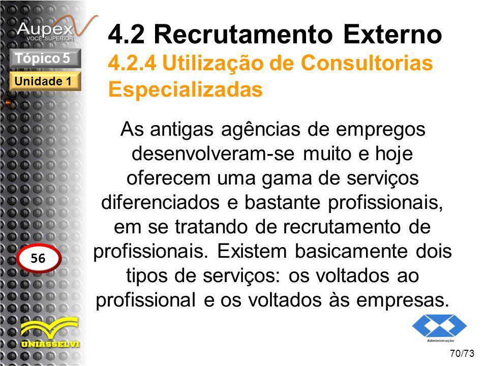 4.2 Recrutamento Externo 4.2.4 Utilização de Consultorias Especializadas As antigas agências de empregos desenvolveram-se muito e hoje oferecem uma ga