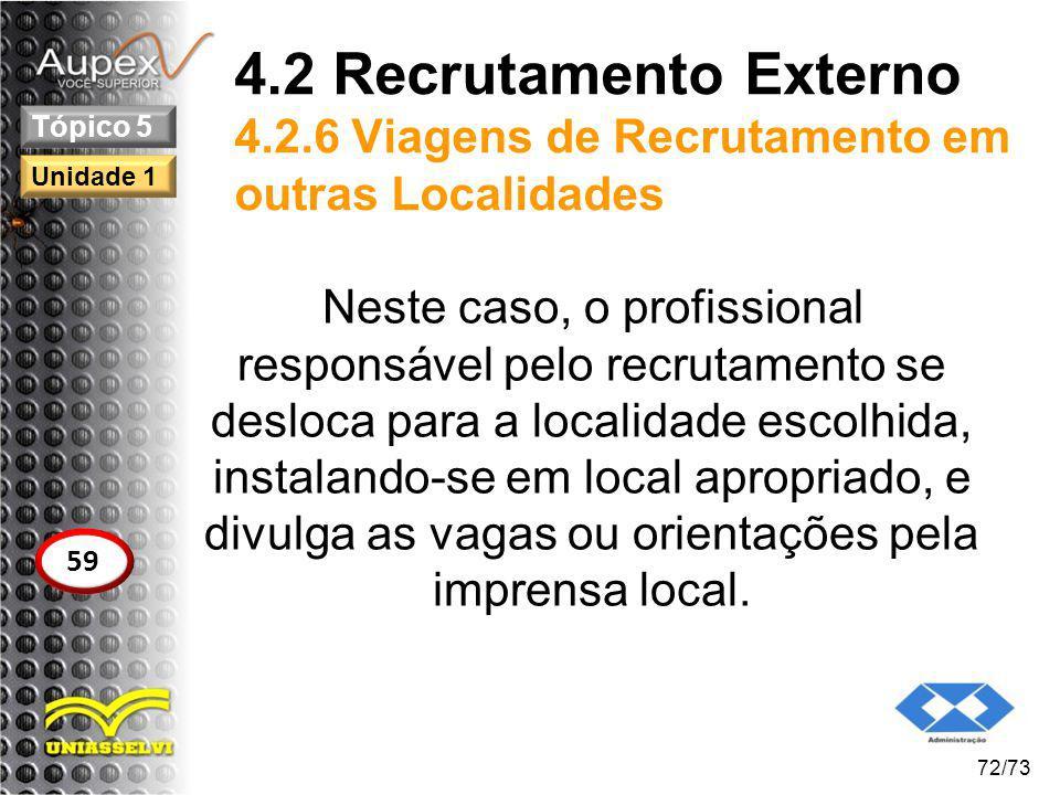4.2 Recrutamento Externo 4.2.6 Viagens de Recrutamento em outras Localidades Neste caso, o profissional responsável pelo recrutamento se desloca para
