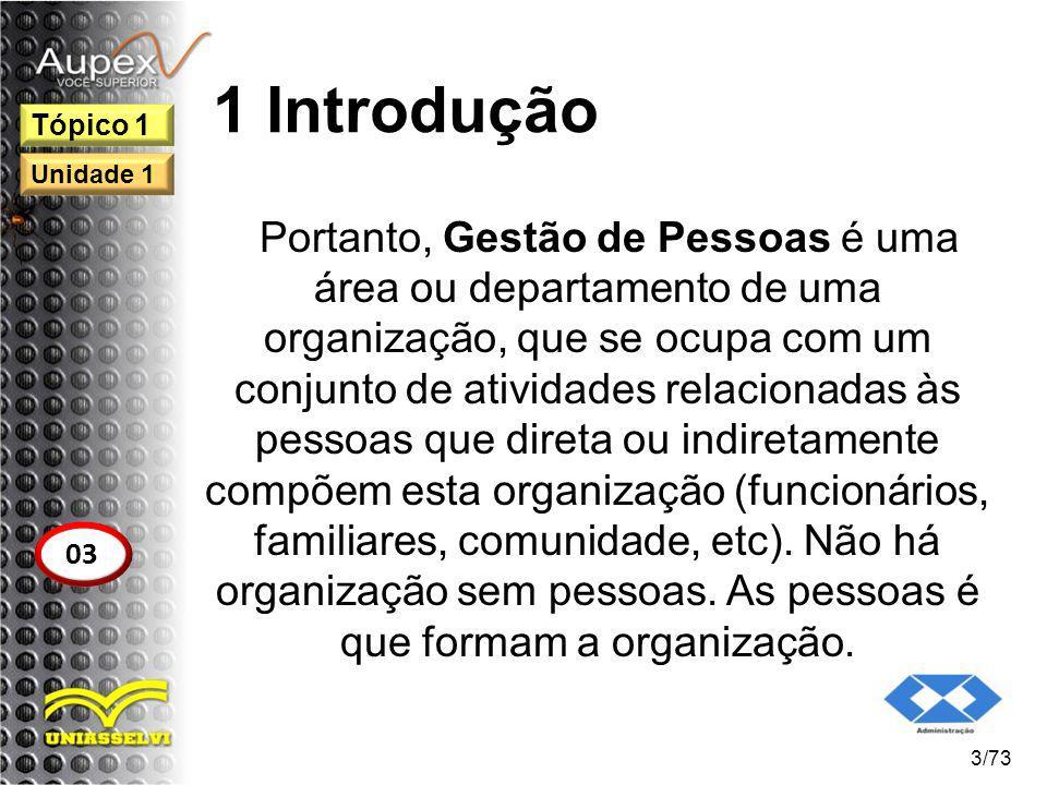 1 Introdução Portanto, Gestão de Pessoas é uma área ou departamento de uma organização, que se ocupa com um conjunto de atividades relacionadas às pes