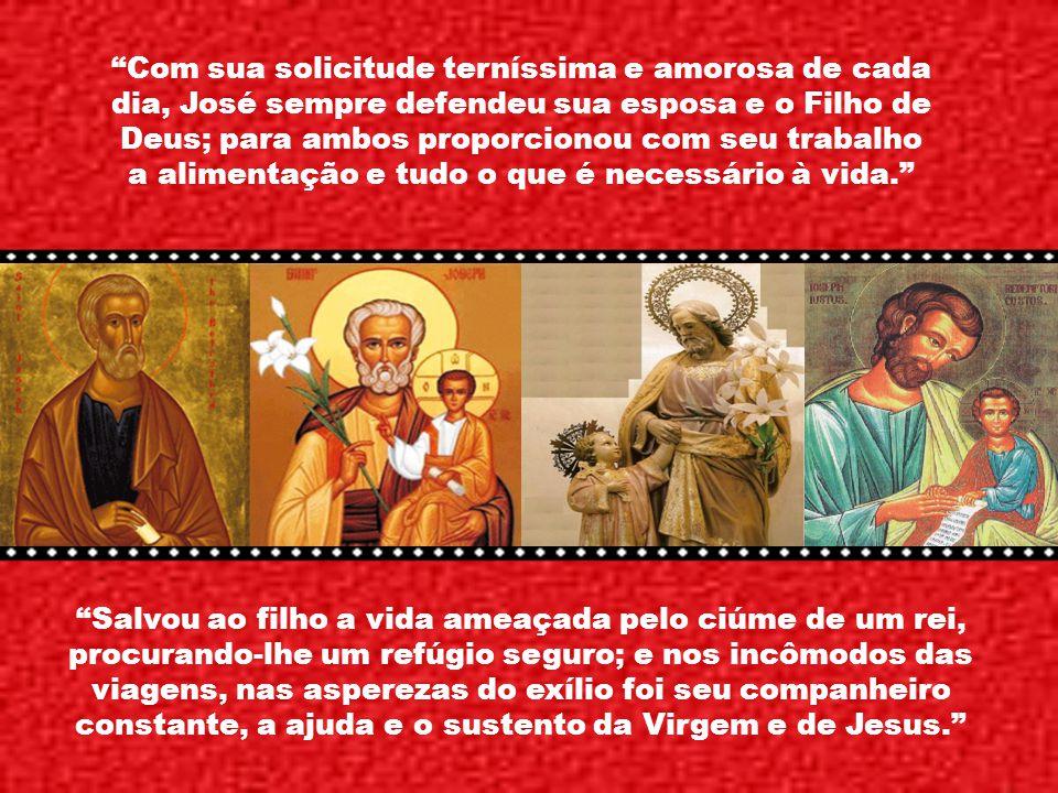 São José ultrapassa a dignidade de todos os outros porque foi escolhido, por conselho divino, a ser o guarda do Filho de Deus. São José, chefe da famí