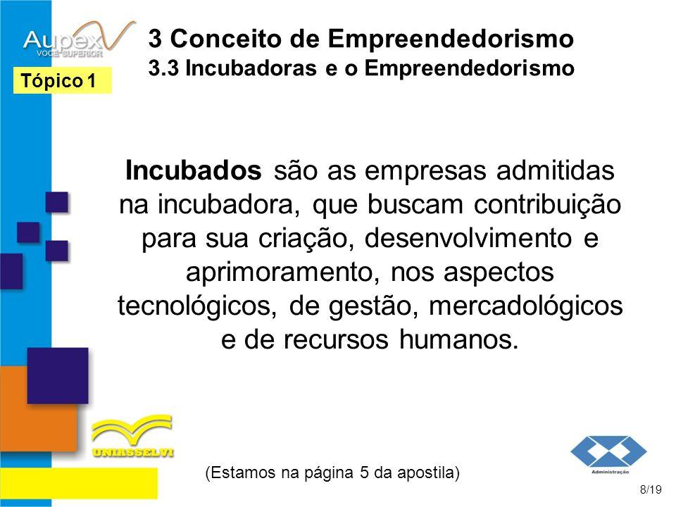 3 Conceito de Empreendedorismo 3.3 Incubadoras e o Empreendedorismo Incubados são as empresas admitidas na incubadora, que buscam contribuição para su