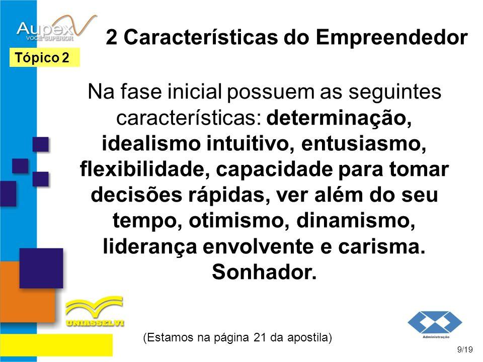 2 Características do Empreendedor Na fase inicial possuem as seguintes características: determinação, idealismo intuitivo, entusiasmo, flexibilidade,
