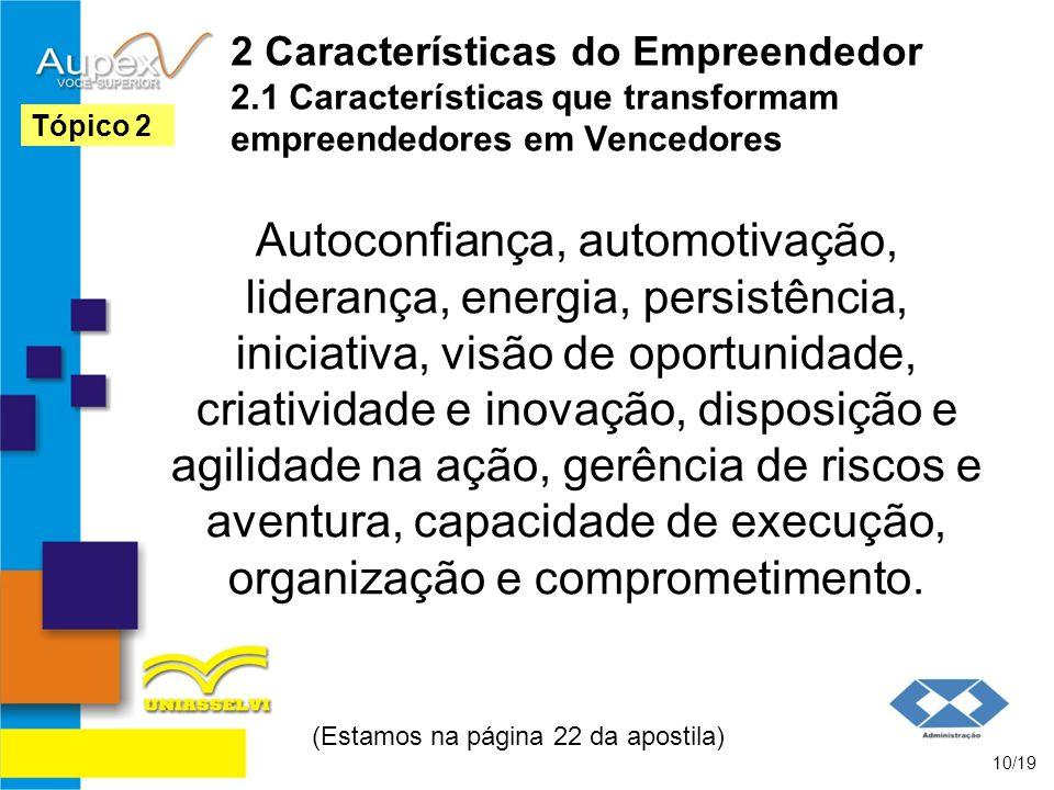 2 Características do Empreendedor 2.1 Características que transformam empreendedores em Vencedores Autoconfiança, automotivação, liderança, energia, p