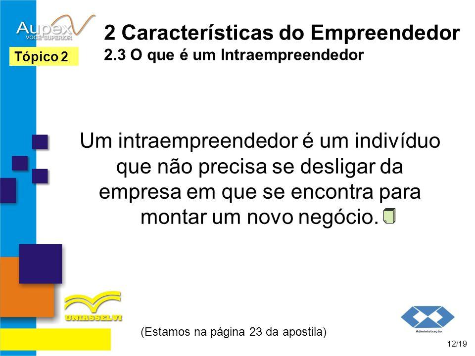 2 Características do Empreendedor 2.3 O que é um Intraempreendedor Um intraempreendedor é um indivíduo que não precisa se desligar da empresa em que s