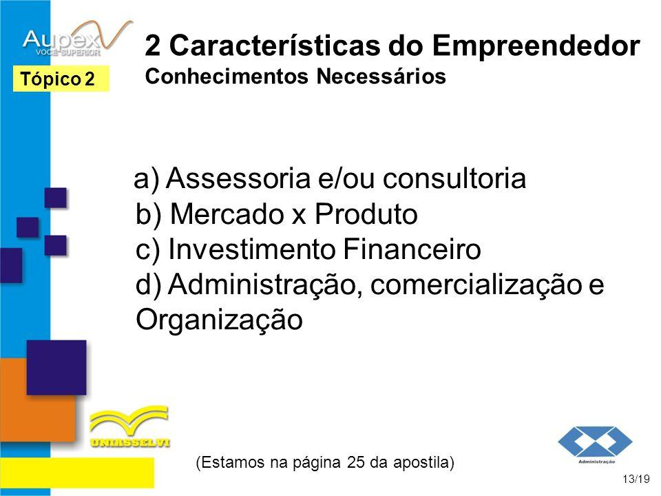 2 Características do Empreendedor Conhecimentos Necessários a) Assessoria e/ou consultoria b) Mercado x Produto c) Investimento Financeiro d) Administ