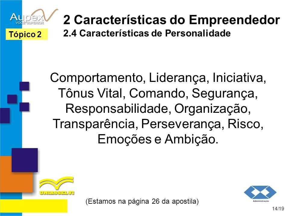 2 Características do Empreendedor 2.4 Características de Personalidade Comportamento, Liderança, Iniciativa, Tônus Vital, Comando, Segurança, Responsa