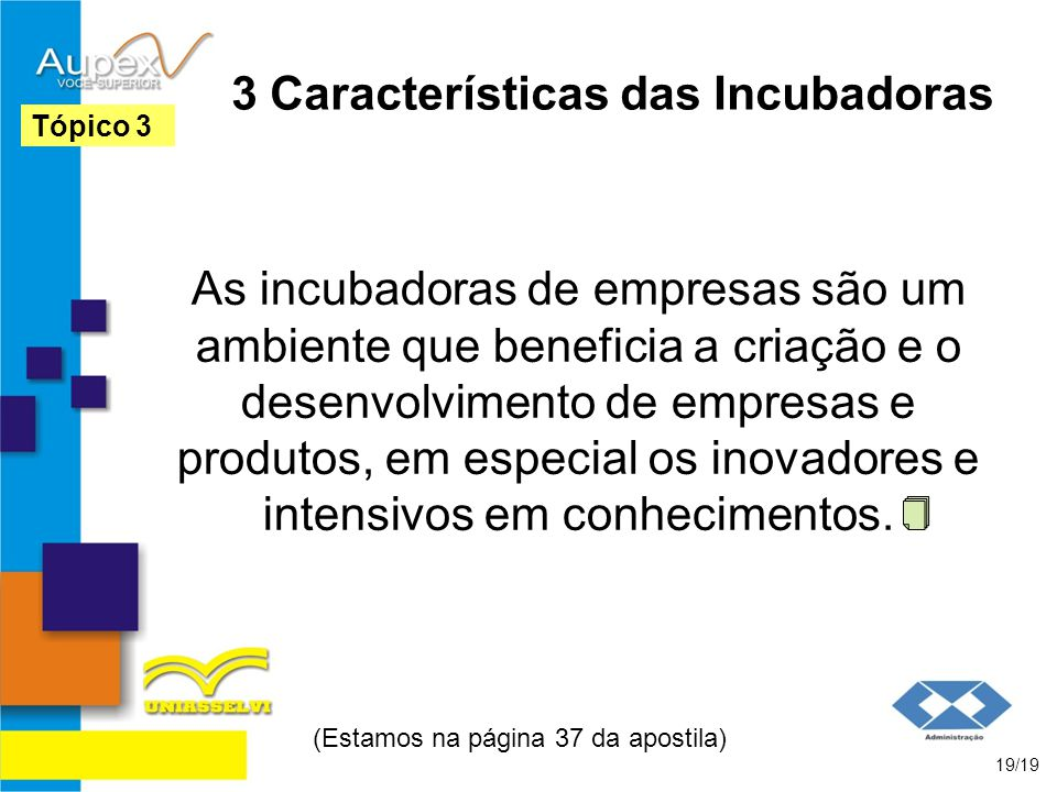 3 Características das Incubadoras As incubadoras de empresas são um ambiente que beneficia a criação e o desenvolvimento de empresas e produtos, em es