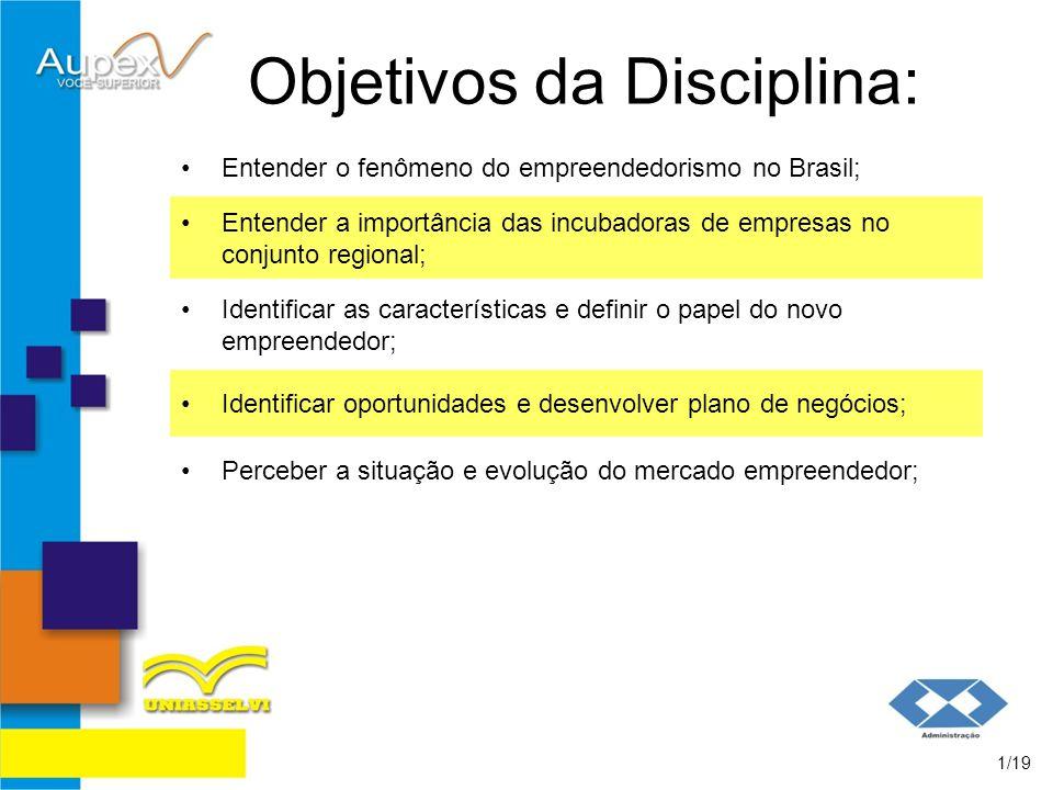 Objetivos da Disciplina: Entender o fenômeno do empreendedorismo no Brasil; 1/19 Entender a importância das incubadoras de empresas no conjunto region