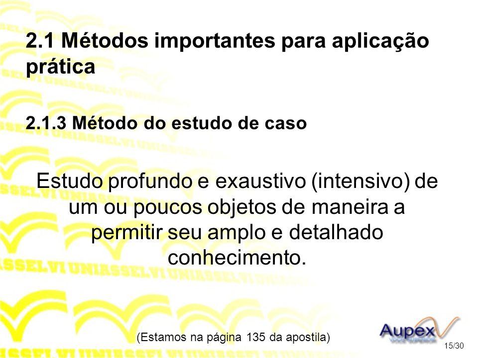 2.1 Métodos importantes para aplicação prática 2.1.3 Método do estudo de caso Estudo profundo e exaustivo (intensivo) de um ou poucos objetos de manei