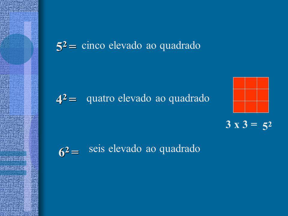 cinco elevado ao quadrado 5 2 = 6 2 = 4 2 = quatro elevado ao quadrado seis elevado ao quadrado 3 x 3 = 5252