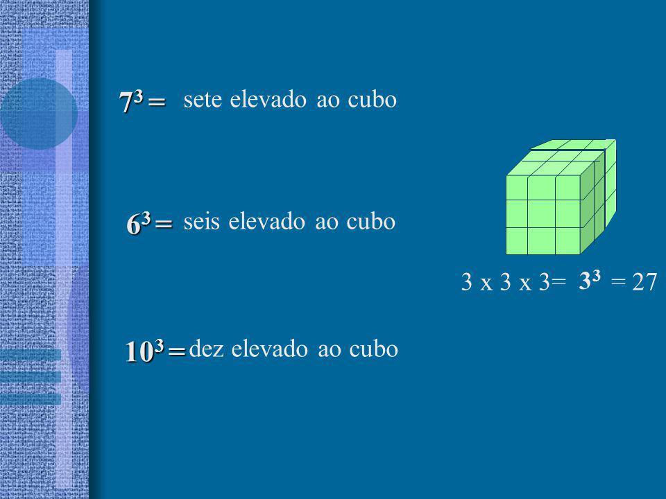 sete elevado ao cubo 7 3 = 10 3 = 6 3 = 6 3 = seis elevado ao cubo dez elevado ao cubo 3 x 3 x 3= = 27 3