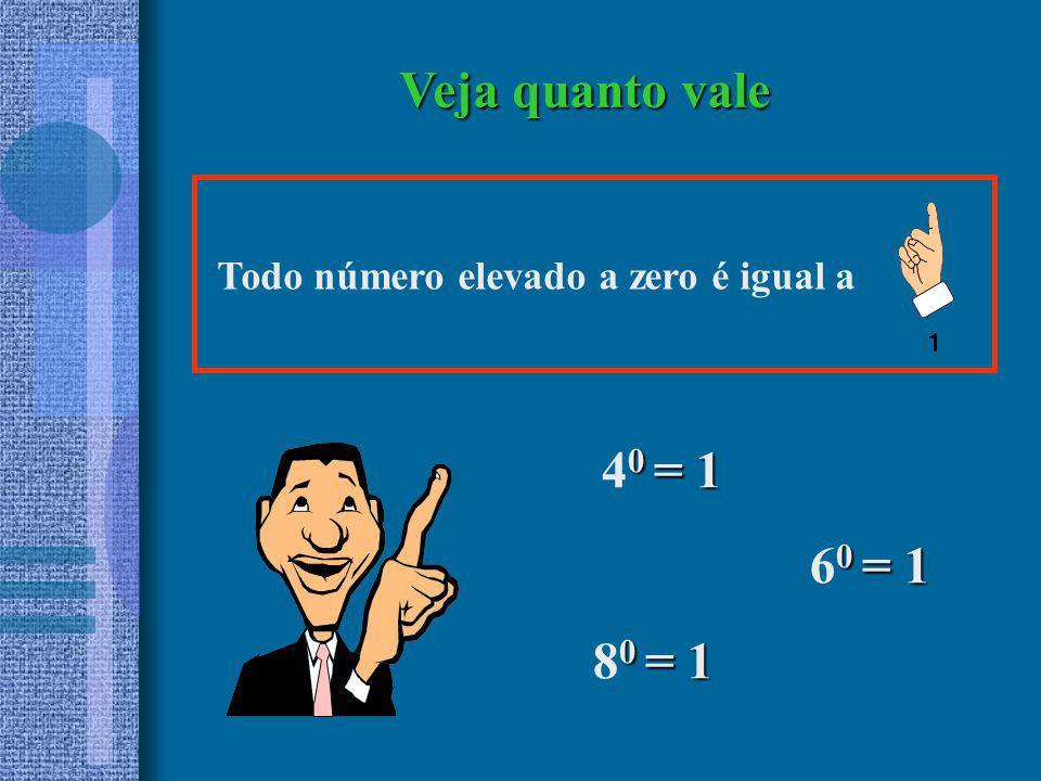 0 = 1 4 0 = 1 Todo número elevado a zero é igual a Veja quanto vale 0 = 1 8 0 = 1 0 = 1 6 0 = 1