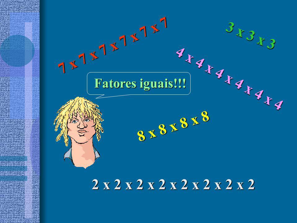 2 x 2 x 2 x 2 x 2 = 2 5 2 5 = lê-se : dois elevado à quinta potência 2 5 = 2 x 2 x 2 x 2 x 2 = 32 ou seja: 2 5 = 2 x 2 x 2 x 2 x 2 = 32 2 x 2 x 2 x 2 x 2 Considerando o produto 2 x 2 x 2 x 2 x 2 em que os cinco fatores são iguais a 2.