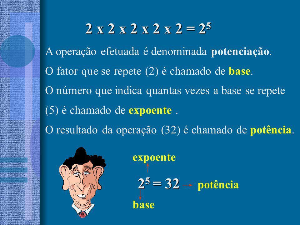 A operação efetuada é denominada potenciação. O fator que se repete (2) é chamado de base. O número que indica quantas vezes a base se repete (5) é ch