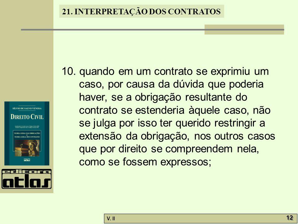 V.II 12 21. INTERPRETAÇÃO DOS CONTRATOS 10.