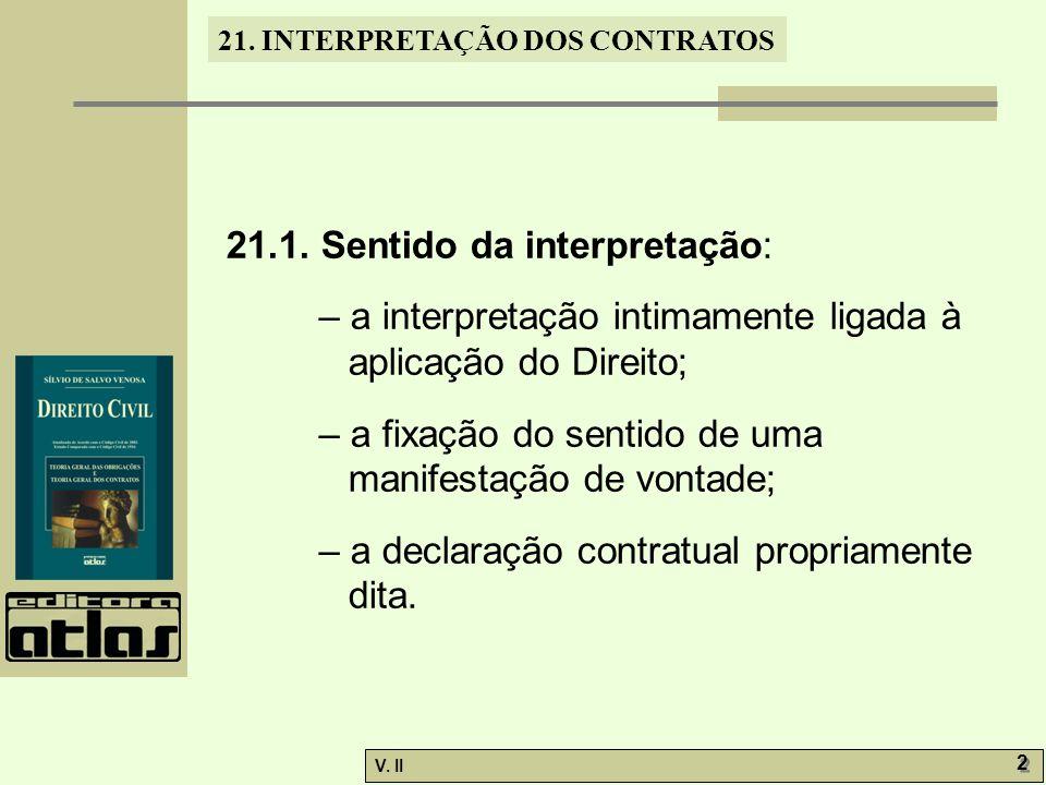 V.II 13 21. INTERPRETAÇÃO DOS CONTRATOS 11.