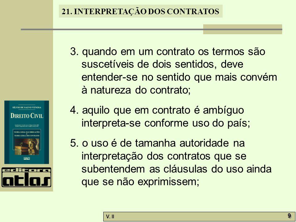 V.II 10 21. INTERPRETAÇÃO DOS CONTRATOS 6.