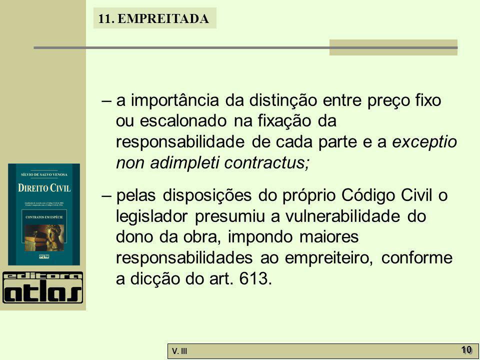 11. EMPREITADA V. III 10 – a importância da distinção entre preço fixo ou escalonado na fixação da responsabilidade de cada parte e a exceptio non adi