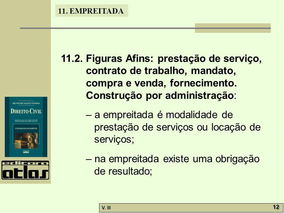 11. EMPREITADA V. III 12 11.2. Figuras Afins: prestação de serviço, contrato de trabalho, mandato, compra e venda, fornecimento. Construção por admini