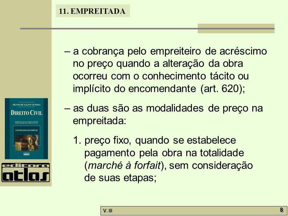 11. EMPREITADA V. III 8 8 – a cobrança pelo empreiteiro de acréscimo no preço quando a alteração da obra ocorreu com o conhecimento tácito ou implícit