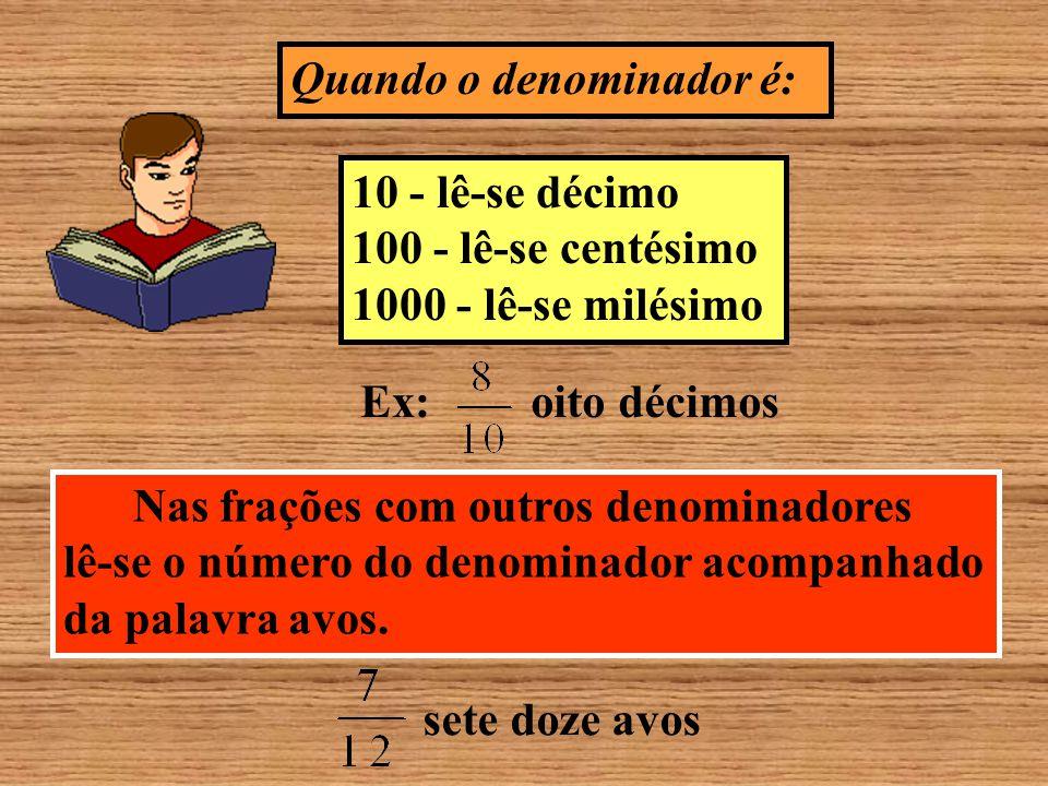 Leitura de uma fração Primeiro lemos normalmente o numerador e em seguida, lemos o denominador, da seguinte maneira 2 - lê-se meio 3 - lê-se terço 4 - lê-se quarto 5 - lê-se quinto Ex: três quartos 6 - lê-se sexto 7 - lê-se sétimo 8 - lê-se oitavo 9 - lê-se nono, dois sextos