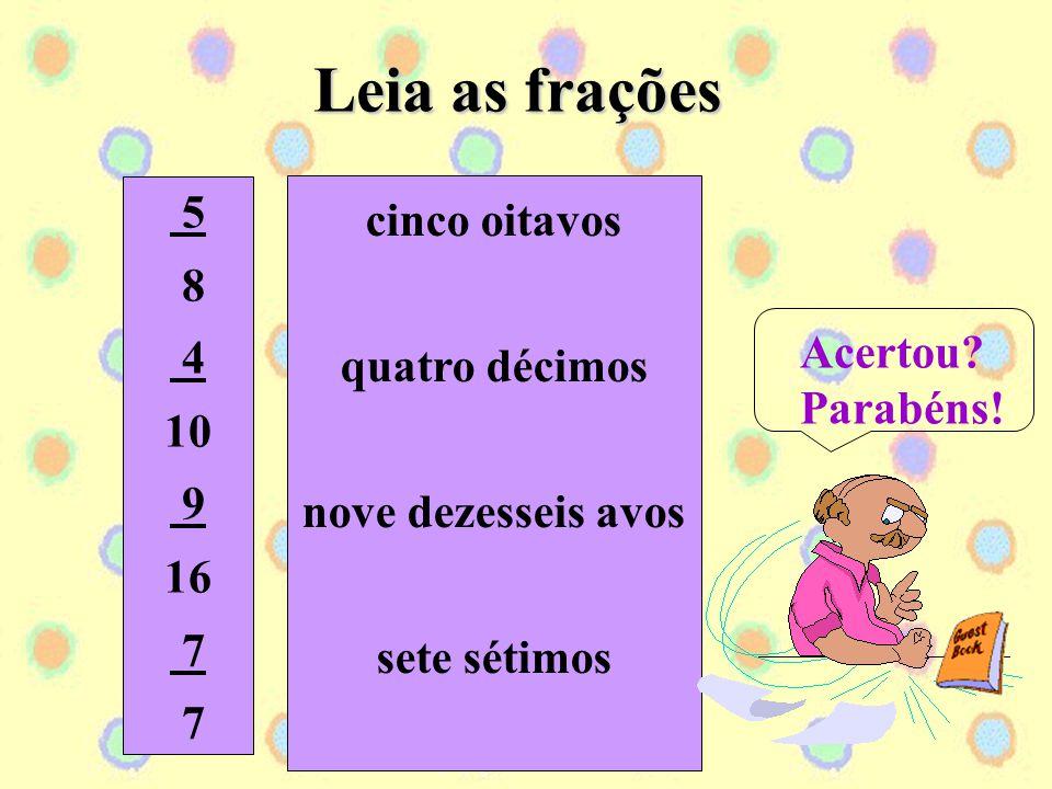 Observe como se lê as frações: 3 = três oitavos 8 2 = dois décimos 10 7 = sete dezessete avos 17 6 = seis sextos 6
