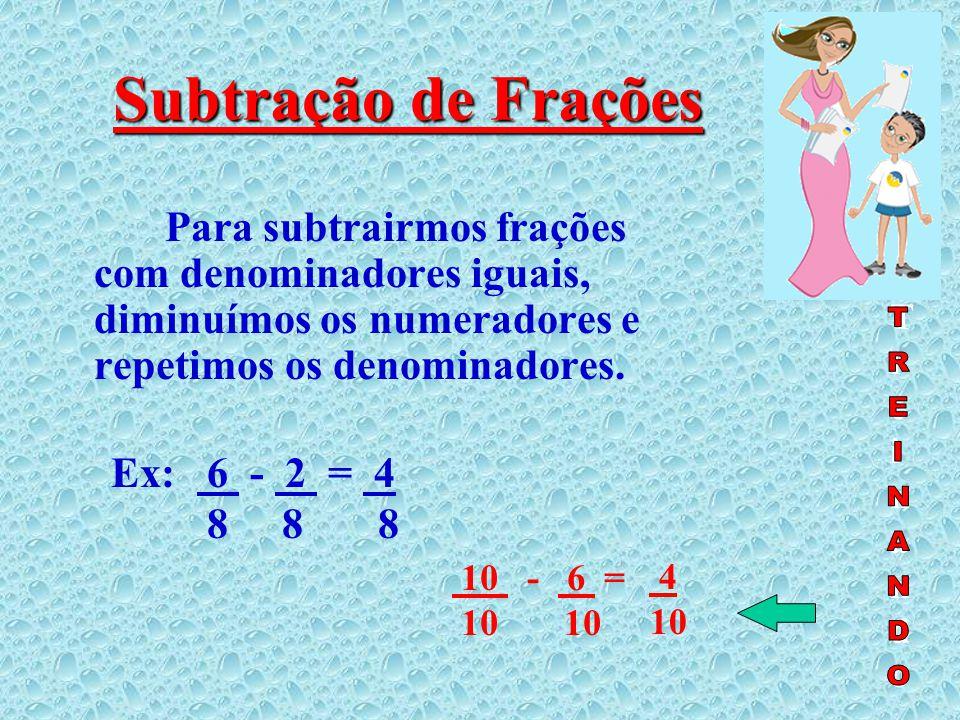 Adição de frações Para somarmos frações com denominadores iguais, somamos os numeradores e repetimos os denominadores.