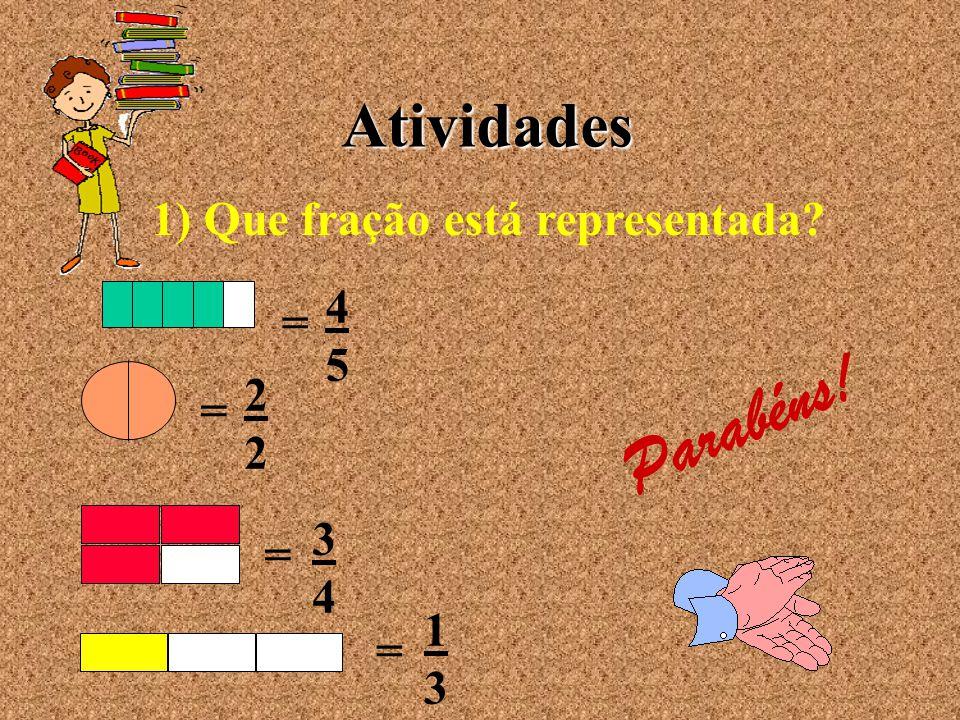 Subtração de Frações Para subtrairmos frações com denominadores iguais, diminuímos os numeradores e repetimos os denominadores.