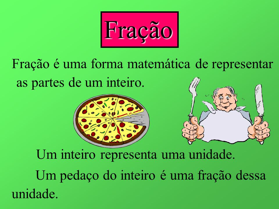 Fração Fração é uma forma matemática de representar as partes de um inteiro.