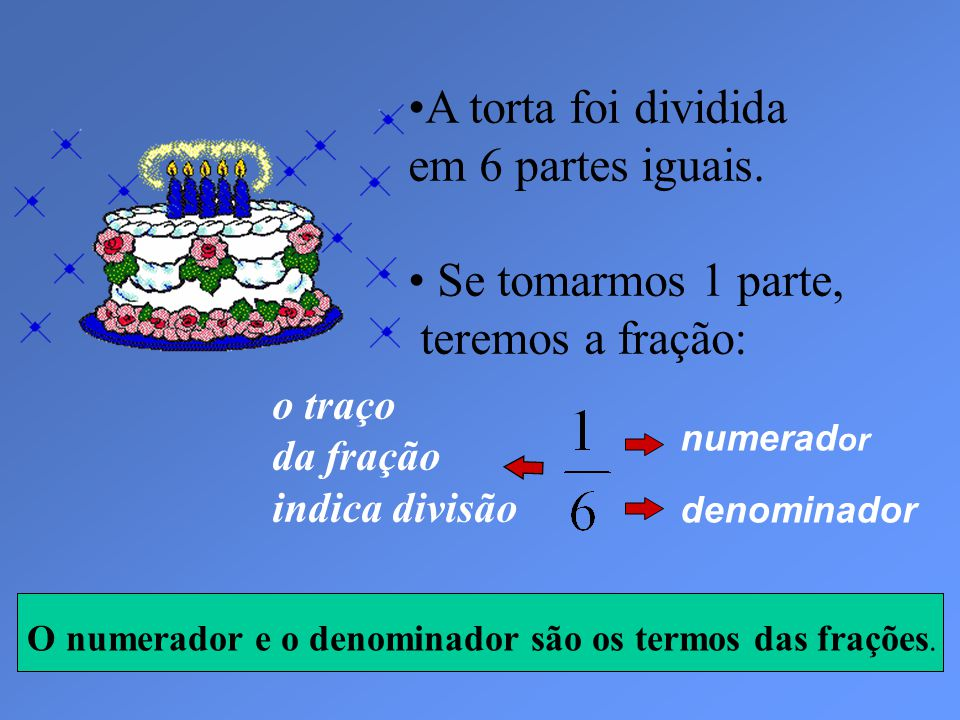 A torta foi dividida em 6 partes iguais.