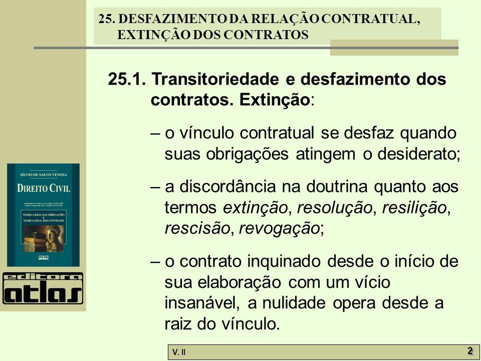 25. DESFAZIMENTO DA RELAÇÃO CONTRATUAL, EXTINÇÃO DOS CONTRATOS V. II 2 2 25.1. Transitoriedade e desfazimento dos contratos. Extinção: – o vínculo con