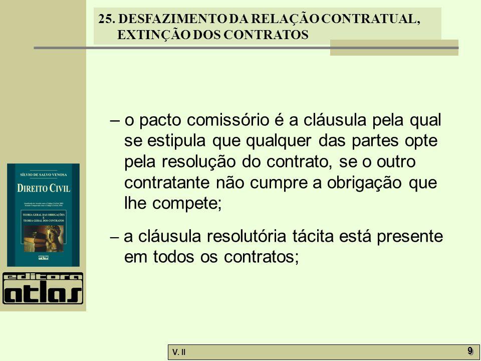 25. DESFAZIMENTO DA RELAÇÃO CONTRATUAL, EXTINÇÃO DOS CONTRATOS V. II 9 9 – o pacto comissório é a cláusula pela qual se estipula que qualquer das part