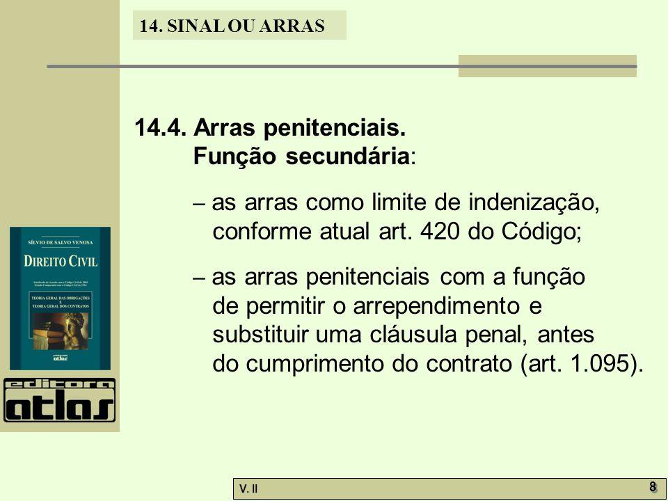 V. II 8 8 14. SINAL OU ARRAS 14.4. Arras penitenciais. Função secundária: – as arras como limite de indenização, conforme atual art. 420 do Código; –
