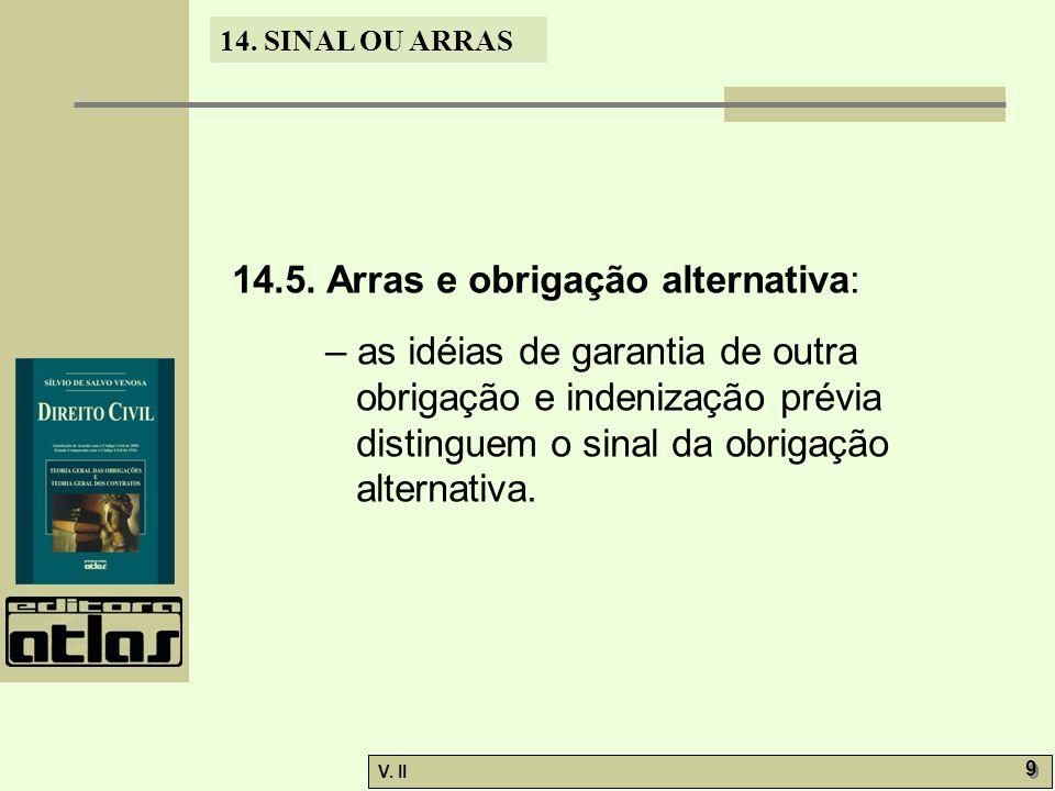 V. II 9 9 14. SINAL OU ARRAS 14.5. Arras e obrigação alternativa: – as idéias de garantia de outra obrigação e indenização prévia distinguem o sinal d