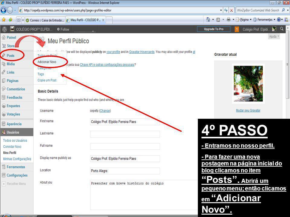 4º PASSO - Entramos no nosso perfil. - Para fazer uma nova postagem na página inicial do blog clicamos no item Posts. Abrirá um pequeno menu; então cl