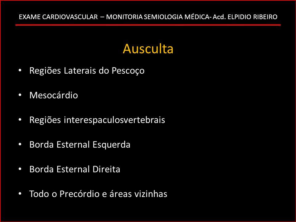 EXAME CARDIOVASCULAR – MONITORIA SEMIOLOGIA MÉDICA- Acd. ELPIDIO RIBEIRO Ausculta Regiões Laterais do Pescoço Mesocárdio Regiões interespaculosvertebr