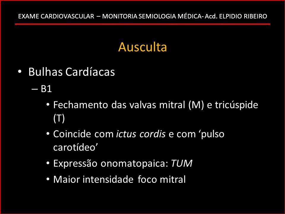 Ausculta Bulhas Cardíacas – B1 Fechamento das valvas mitral (M) e tricúspide (T) Coincide com ictus cordis e com pulso carotídeo Expressão onomatopaic