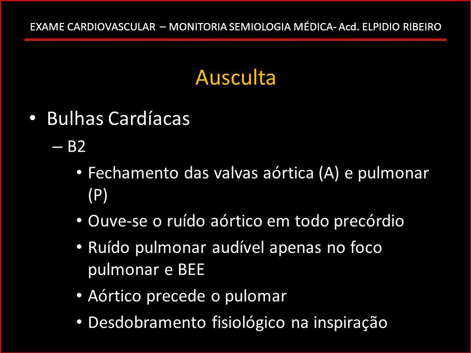 EXAME CARDIOVASCULAR – MONITORIA SEMIOLOGIA MÉDICA- Acd. ELPIDIO RIBEIRO Ausculta Bulhas Cardíacas – B2 Fechamento das valvas aórtica (A) e pulmonar (