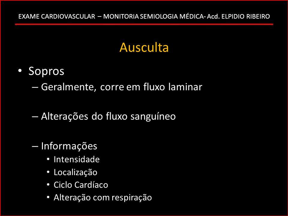 EXAME CARDIOVASCULAR – MONITORIA SEMIOLOGIA MÉDICA- Acd. ELPIDIO RIBEIRO Ausculta Sopros – Geralmente, corre em fluxo laminar – Alterações do fluxo sa