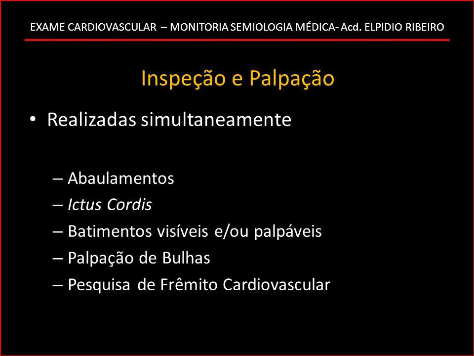 EXAME CARDIOVASCULAR – MONITORIA SEMIOLOGIA MÉDICA- Acd. ELPIDIO RIBEIRO Inspeção e Palpação Realizadas simultaneamente – Abaulamentos – Ictus Cordis